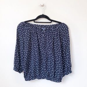 Gap Navy Polka Dot Off Shoulder Blouse Sz XS